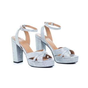 Sandálias prateadas de salto alto Amélie