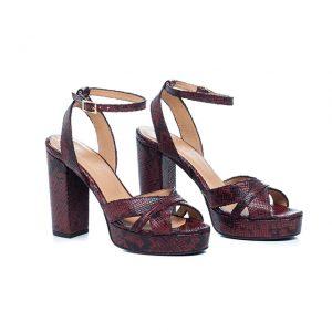 Sandálias de salto alto bordeaux Amélie